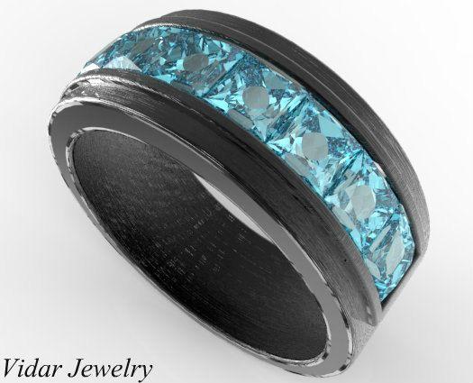 Mens Wedding Band Unique Black Gold Ring With Princess Cut Aquamarine Channel Set Matte Finish Ring