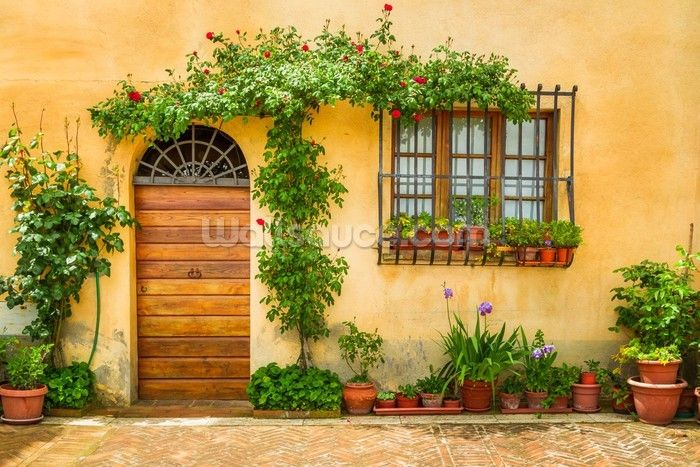 Beautiful Village House Italy Wallpaper Mural Wallsauce Uk Murals Your Way Porch Decorating Village Houses