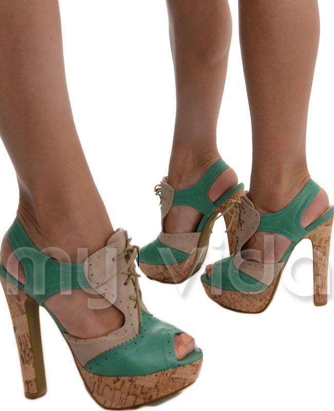 Sandali casual verdi con stringhe con tacco stiletto per donna eV22g