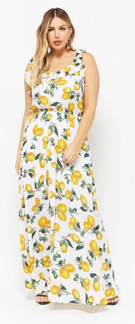 b53d37a909a Plus Size Lemon Print Maxi Dress
