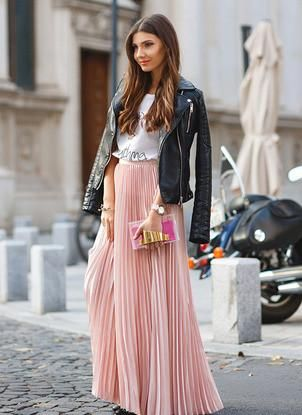 pleated maxi skirt, pink skirt, trendy long skirt - Crystalline