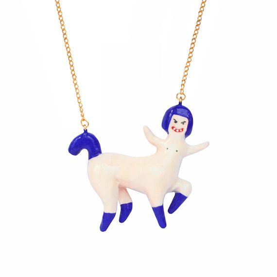 CENTAUR  girl DOLL NECKLACE statmenent jewelry  by OhMyGodJewels