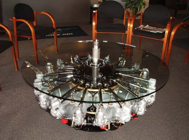 hmmm, radial engine coffee table and don't miss the table lamp, looks cozy  but concrete floor and dark walls would not hurt | Hard boiled | Pinterest  ...