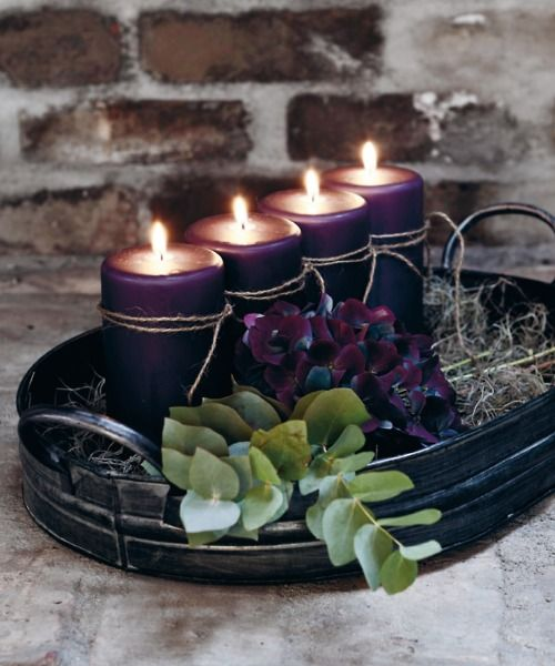 Deep Purples and GreensLights, Christmas Decor Ideas, Purple, Candles Centerpieces, Christmas Holiday, Scandinavian Christmas, Holiday Decor, Crafts Stores, Candles Arrangements