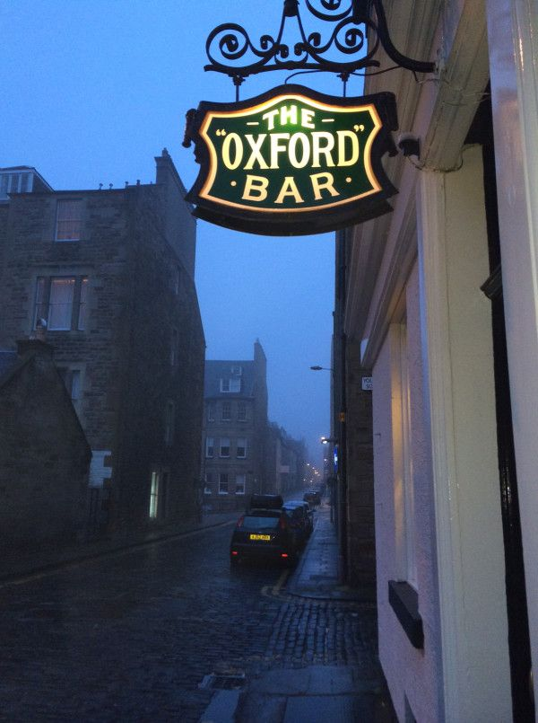 The Oxford Bar in Edinburgh, favorite hang out of Ian Rankin's fictional detective, John Rebus.