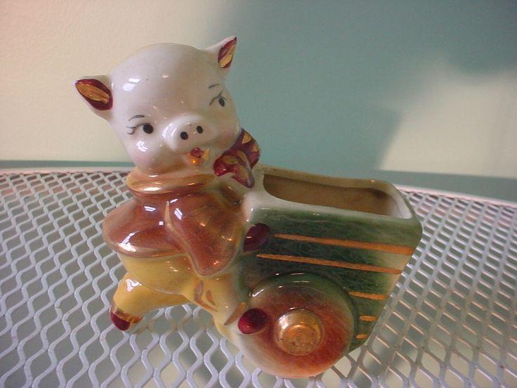 Vintage Mid Century  Pig Pushing Cart Ceramic Planter Excellent Condition