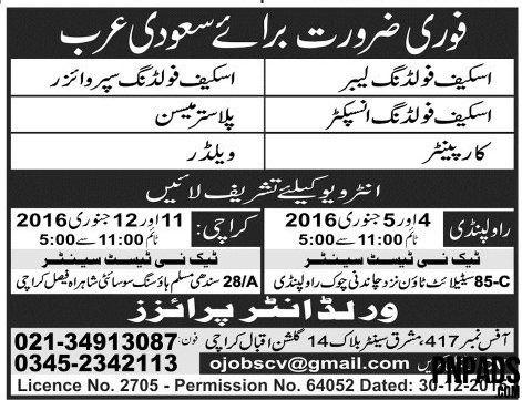 Labour Plumber \ Welder Jobs In Saudi Arabia Jobs In Pakistan - welder job description