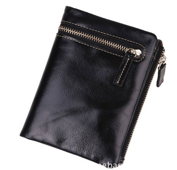 High quality women wallets purse PU leather money bag vintage bifold coin bag zipper and hasp