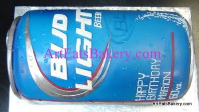 3D giant Bud Light beer can unique modern fondant 60th birthday cake design idea picture