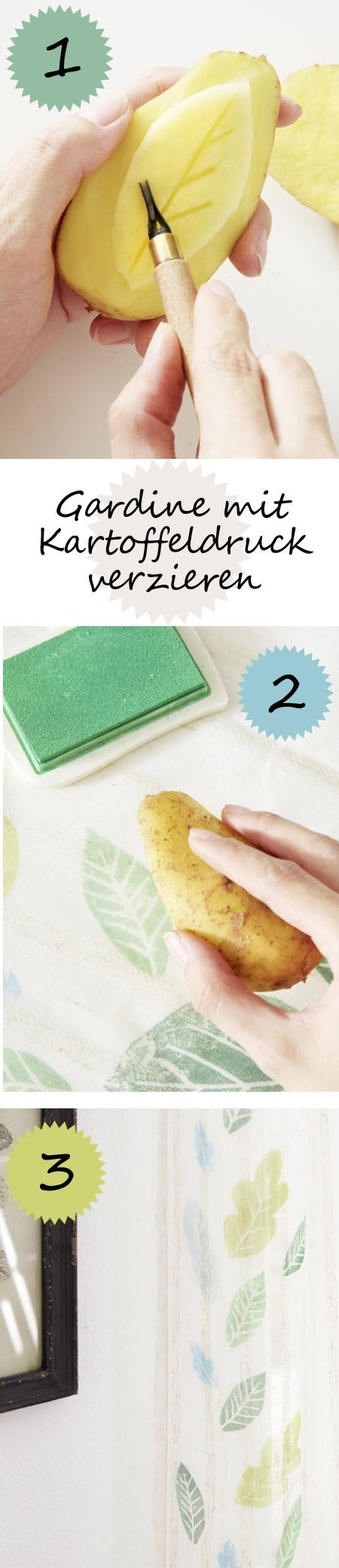 Kartoffeldruck - einfache DIY-Idee! Und SO kannst du den Stempel selber machen - und mit dem Kartoffeldruckverfahren schnell und einfach eine Gardine verzieren >>>