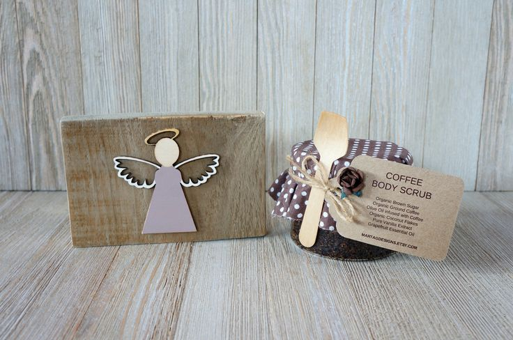 Gift sets for women, gift set for her, coffee gift, angel sign & coffee scrub 10 oz, gift for women, gift for her by MartaGDesigns on Etsy