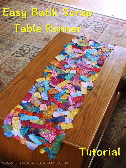 Easy Batik Fabric Scrap Table Runner Made With Water