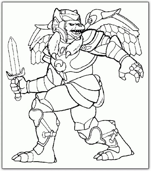 Power Rangers winged monster with sword coloring page