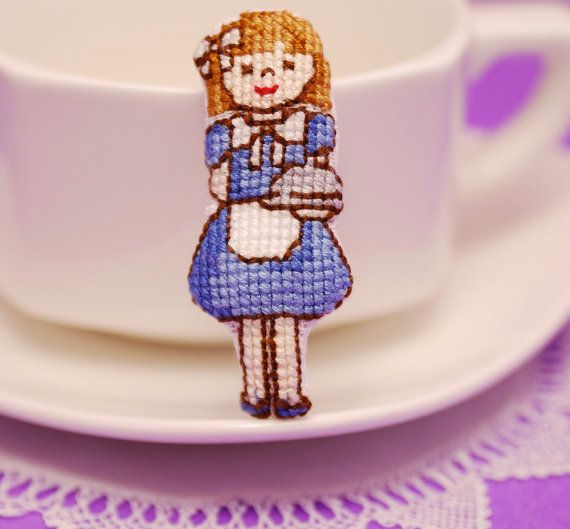 Cute girl figure cross stitch Brooch. Hand by MeandMamaCreations