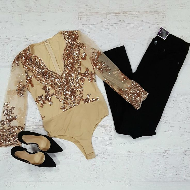 Midnight Rosegold Sequin Bodysuit from Cousin Couture.