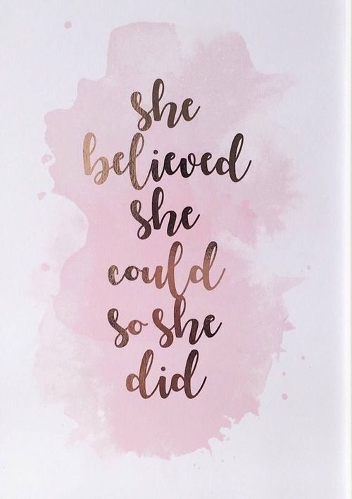 She Believed She Could So She Did – ROSE GOLD FOIL Framed A4 Print… Work Space, Home Office, Wall Art, Graduation // Baby Pink Watercolour