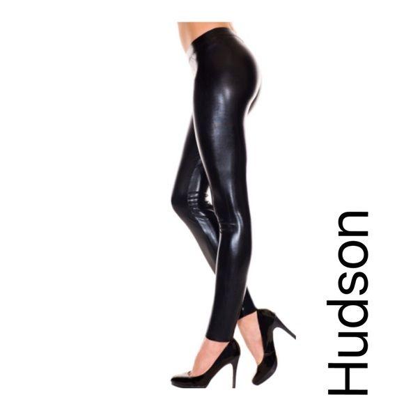 "Hudson Wet Look Leggings Super sleek wet-look leggings-an edgy alternative to leather. Rock-star worthy! Inseam 29"", rise 9"", leg opening 10"". 98% cotton, 5% Elastane--stretch, wet look finish. Inseam 29"", rise 9"", leg opening 10"" Hudson Jeans Jeans Skinny"