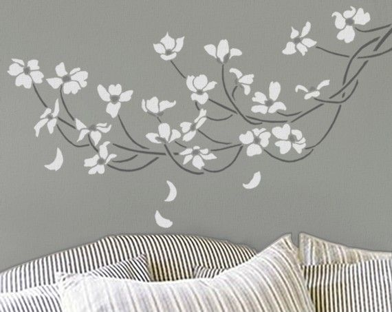 STENCIL - DOGWOOD Branch - Large, Reusable Wall Stencil - DIY Home Decor