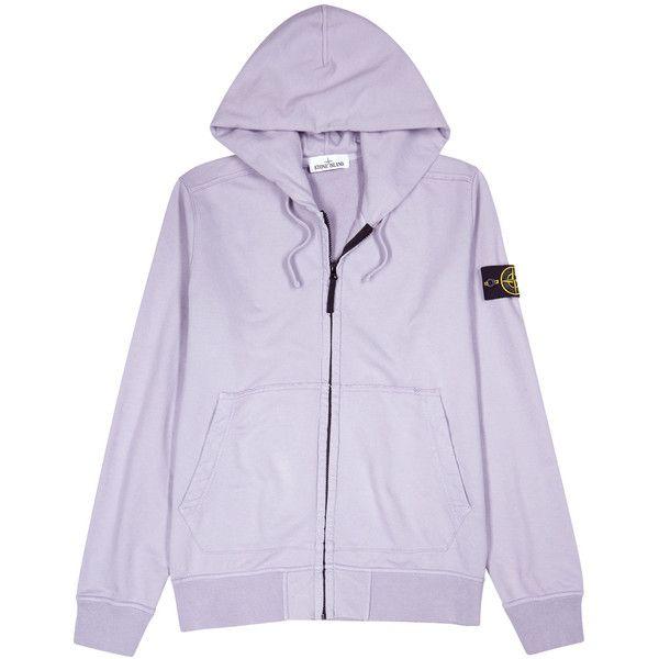 Stone Island Lilac Hooded Cotton Sweatshirt - Size L ($315) via Polyvore featuring men's fashion, men's clothing, men's hoodies, men's sweatshirts, mens zip sweatshirt and mens zipper sweatshirt