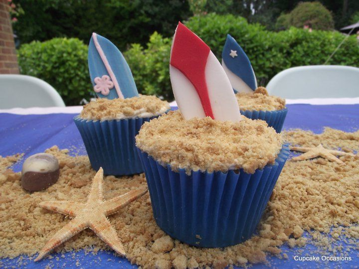 """""""Surf's Up!"""" Surfboard Cupcakes - GoodCupcakes.com"""