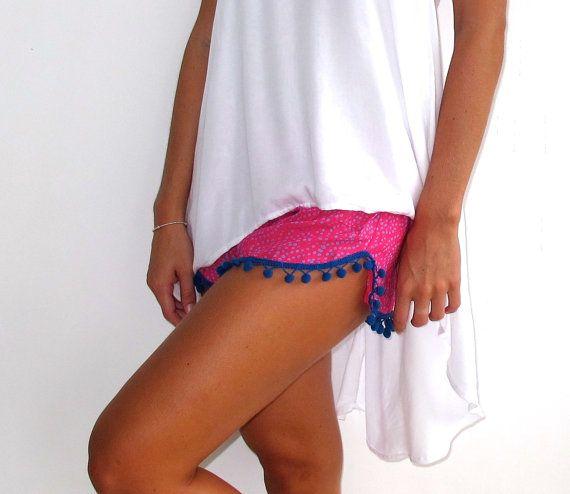 Pom Pom Shorts  Hot Pink & Cobalt Dot Print with by ljcdesignss, $29.00