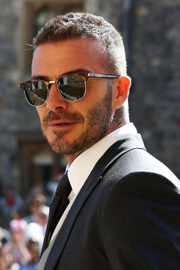 7b9a48e7756 David Beckham short hairstyle from side. Sunglasses