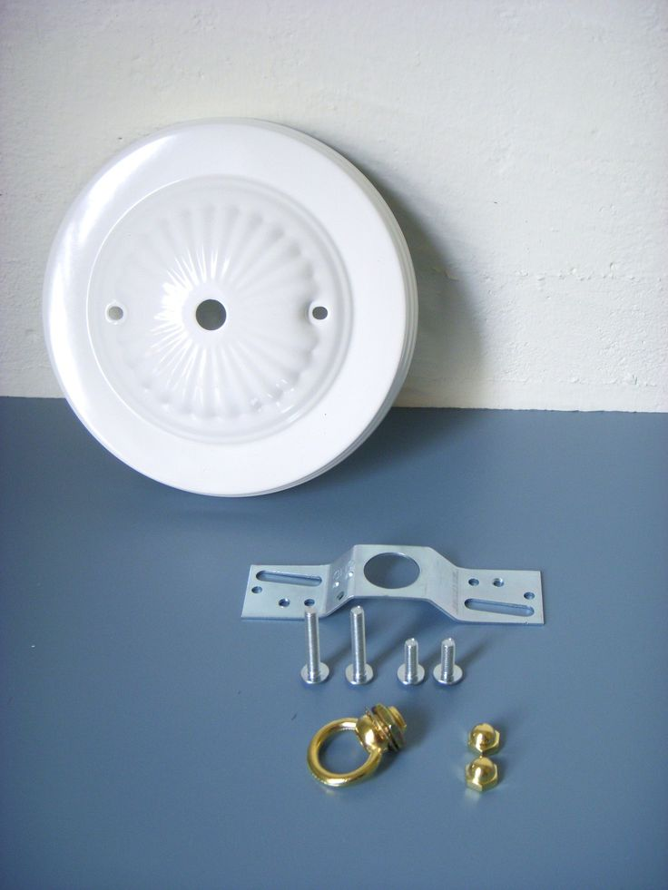 DIY - Decorative Bright White Embossed Ceiling Canopy Plate - Pendant Light Fixture Mounting Kit. $9.00, via Etsy.