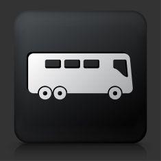 Black Square Button with Bus Icon vector art illustration