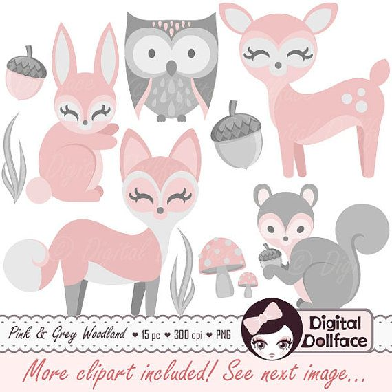 -------- 10% OFF with COUPON CODE: PIN10 -------- Baby Woodland Animal Clipart Girl Baby Clip Art by DigitalDollface