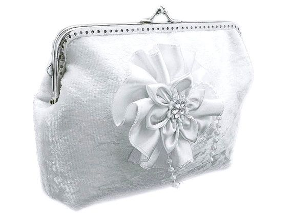 White velvet bridal frame clutch bag weddings by FashionForWomen