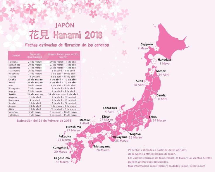 ¿Cuándo comienzan a florecer los cerezos en Japón? En este mapa se muestran las fechas previstas para la primavera de 2018 en las principales ciudades de Japón. Datos actualizados el 21 de febrero de 2018.  http://japon-secreto.com/cerezos-en-flor-japon-2018/