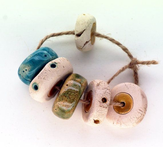 Immensity of the sea -- 6 matte rustic disk beads