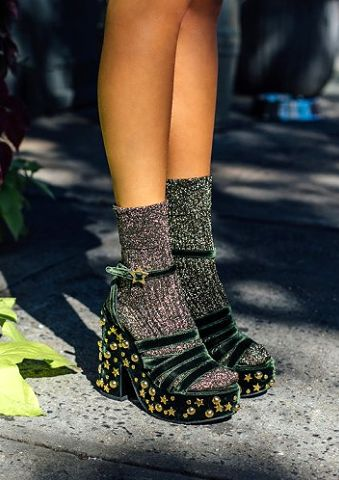 SHOP The MR Man Repeller Shoe Collection | The LOL If You Think I'm Walking Sandal, $520; at Net-A-Porter | Studded velvet platform sandal in green, styled with metallic socks | Fall / Winter 2016