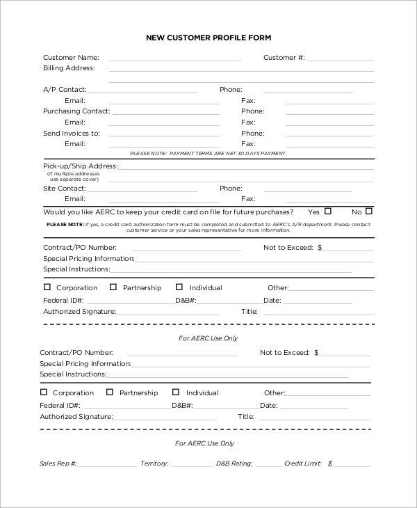 4 Client Profile Templates Client Profile Customer Profile