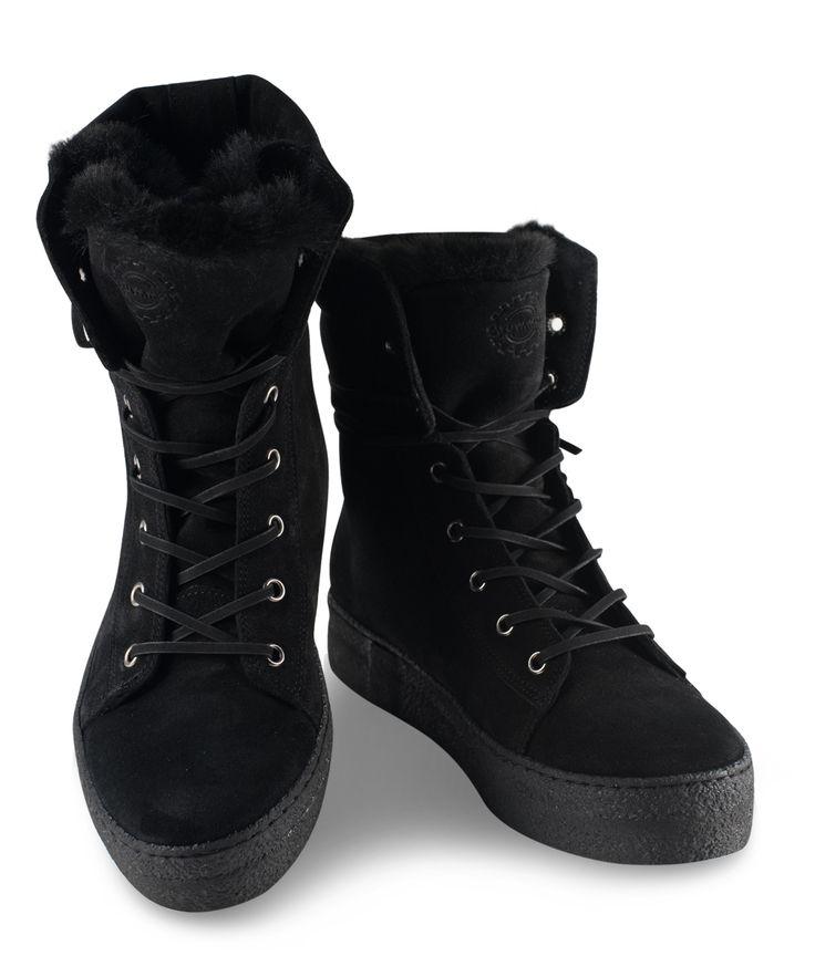 GRUMMAN flat bootie to warm your cold days walking... Black