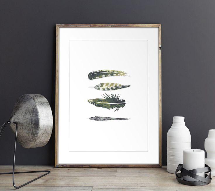 Scandinavian poster design - Feathers.  Eco-friendly premium poster.