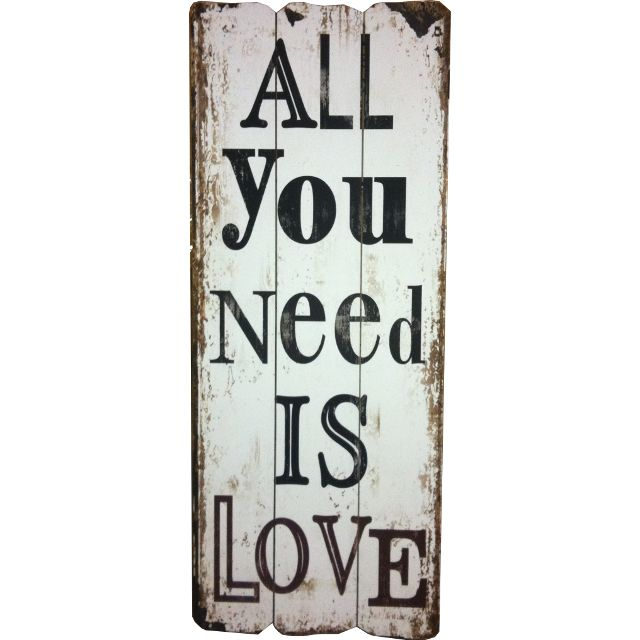 All You Need Inspirational Wooden Wall Word Sign from Earth Homewares