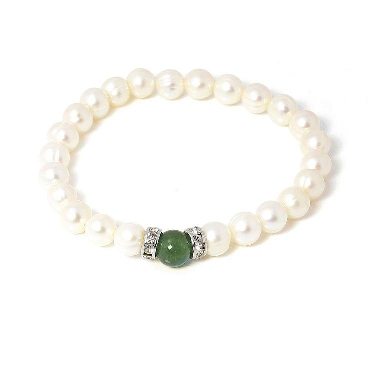 Brățară Orchira perle de cultură cu jad verde