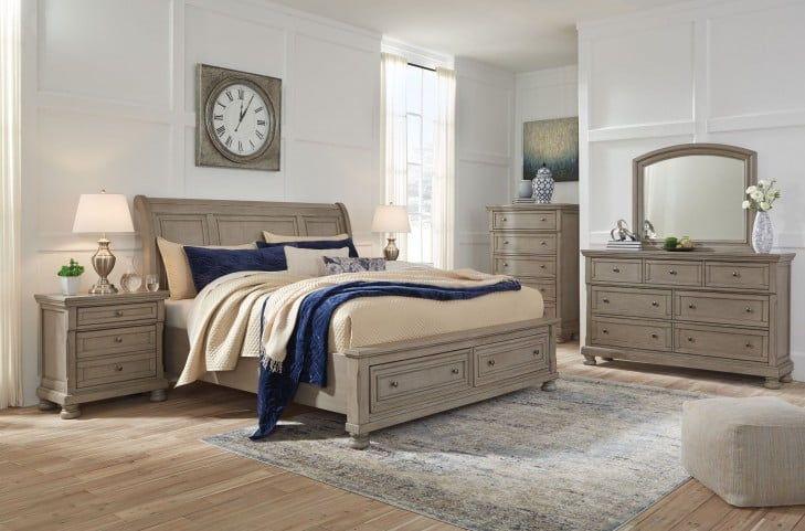 Lettner Light Gray Sleigh Storage Bedroom Set Ashley Furniture Bedroom Sleigh Bedroom Set Bedroom Sets Queen Ashley furniture grey bedroom set