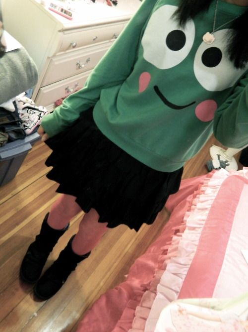 keroppi sweater ! The entire outfit is cute!
