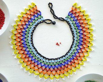Collar con cuentas de collar collar africano azul y amarillo