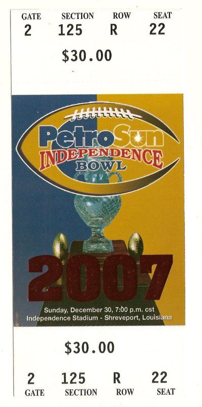 2007 Independence bowl game Full Ticket Alabama Colorado....if you like this you can find many more college bowl game tickets for sale at www.everythingcollectibles.biz