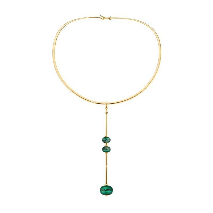Runa malachite necklace in yellow gold