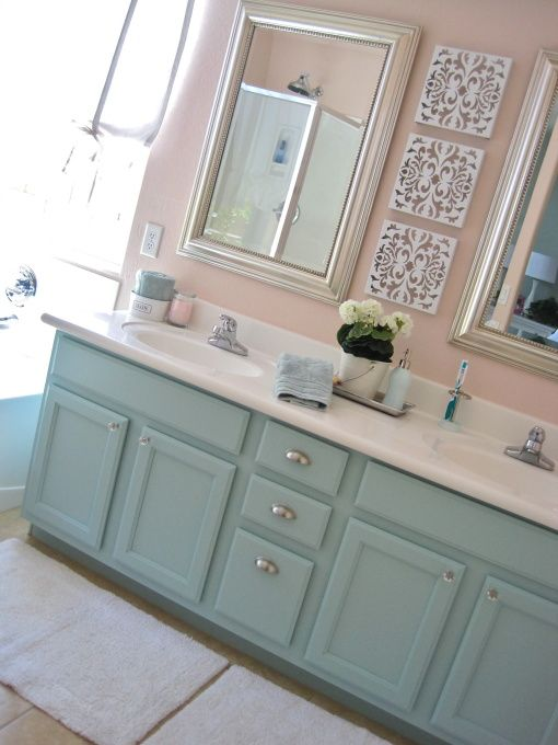Painted bathroom vanity soft colors trailer trash pinterest Martha stewart bathroom collection