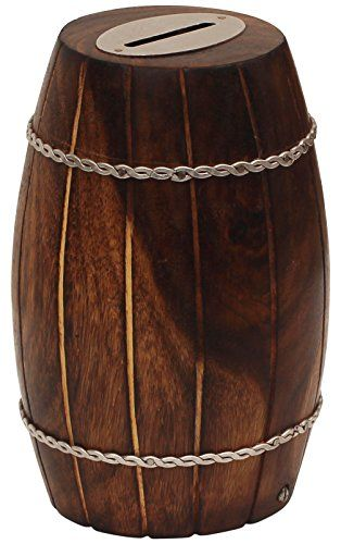BULK Deals  SouvNear Wooden Coin Bank  36 x 36 Inch  Barrel Shaped Money Bank in MangoWood  Decorated with Iron Chains  Rustic Look Piggy Bank  Coin Bank for Kids and Adults
