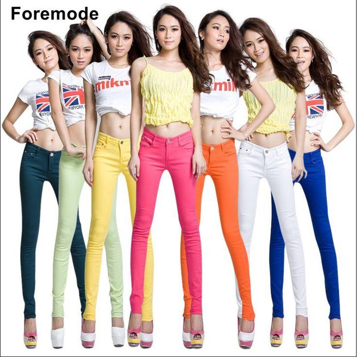 Foremode Mujeres Boutique de las mujeres Dulces de Colores Pantalones Vaqueros Mujer Flaco Color Sólido de Copa Lápiz Pantalones vaqueros mujeres 15 color