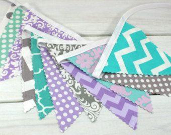 Bunting banner fabric flags girl nursery decor for Purple nursery fabric