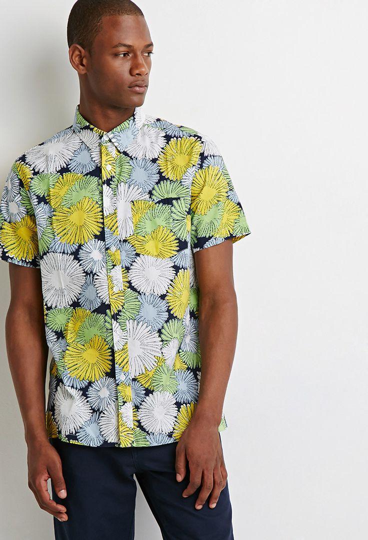 21 MEN 夏用フラワープリント半袖シャツ