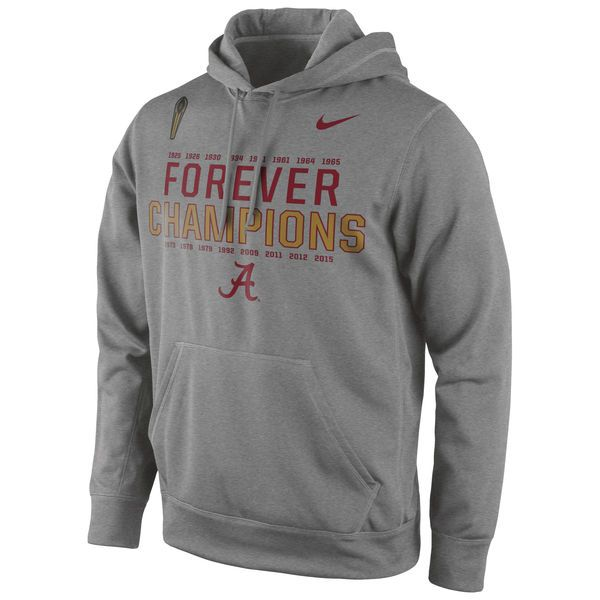 Alabama Crimson Tide Nike College Football Playoff 2015 National Champions Forever Performance Pullover Hoodie - Gray - $54.99