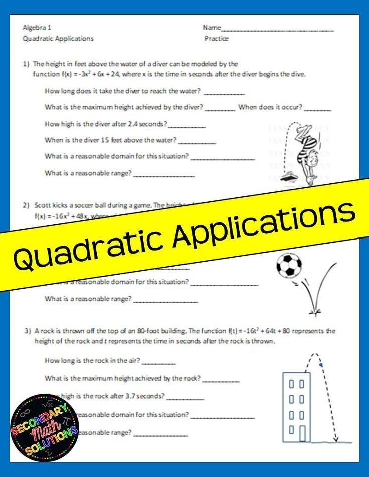 Quadratic Applications Notes Practice Quadratics Word Problem Worksheets Math Lesson Plans